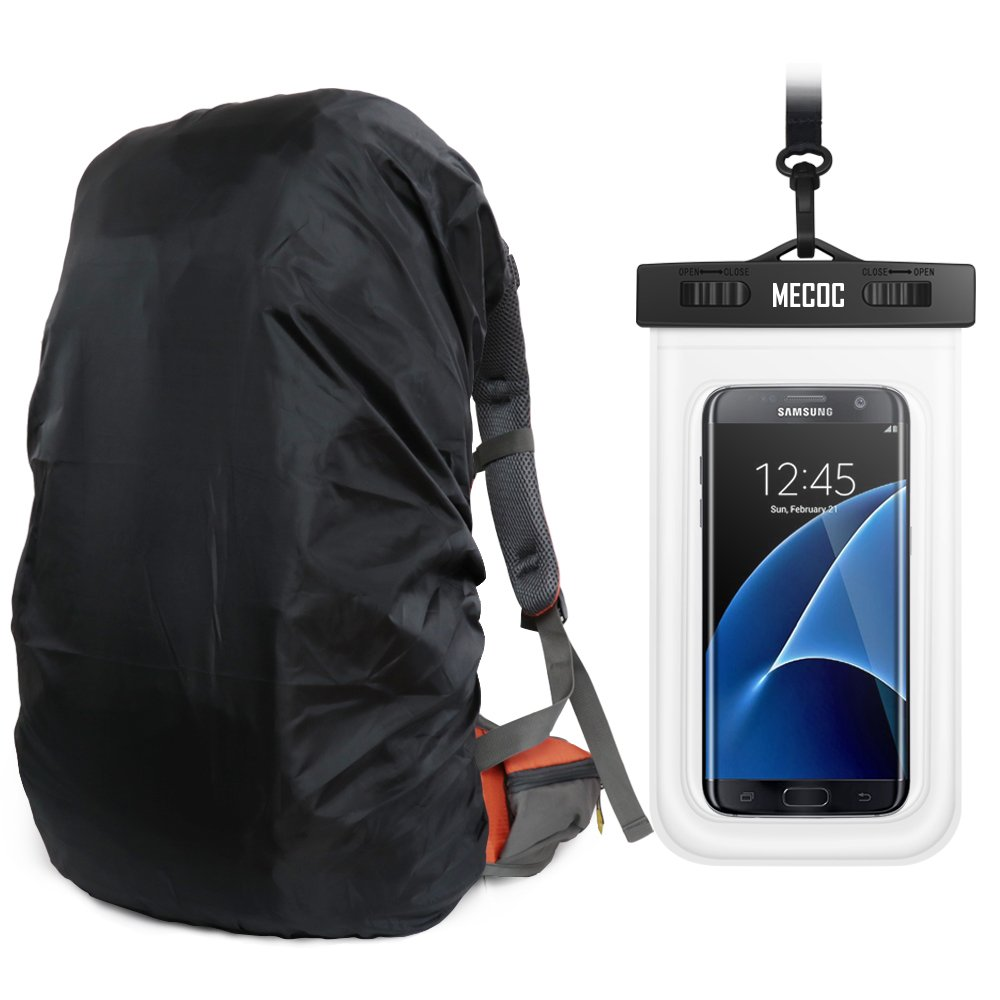 a78be4d71b6e MECOC Ultralight Backpack Rain Cover with PU Stored Bag&Cellphone  Waterproof Case,3 Color Available,15-90L for  Camping,Hiking,Cycling,Waterproof case ...