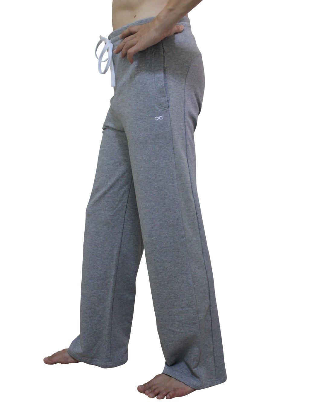 YogaAddict Men Yoga Long Pants, Pilates, Fitness, Workout, Casual, Lounge, Sleep, Martial Arts Pants (Sale Price), Light Grey - Size S by YogaAddict