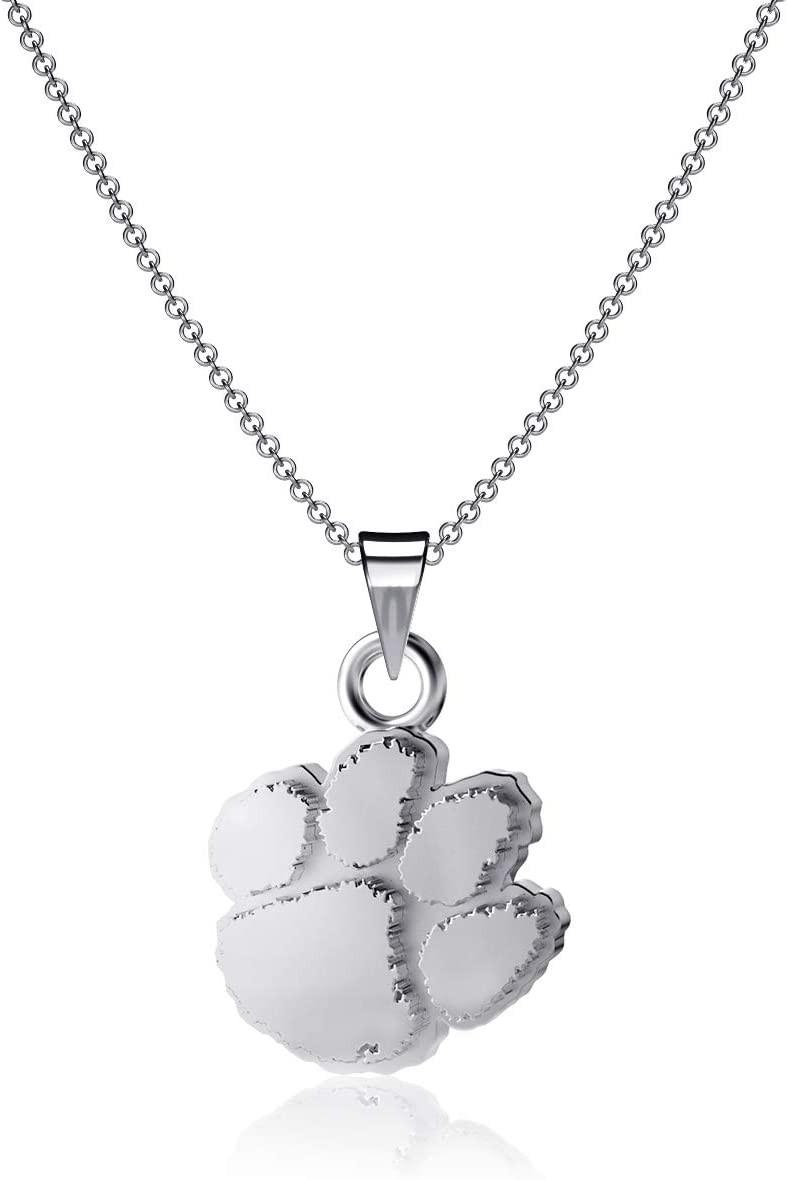 Dayna Designs Clemson University Pendant Necklace Sterling Silver Jewelry Small for Women//Girls Silver TigersPaw Logo
