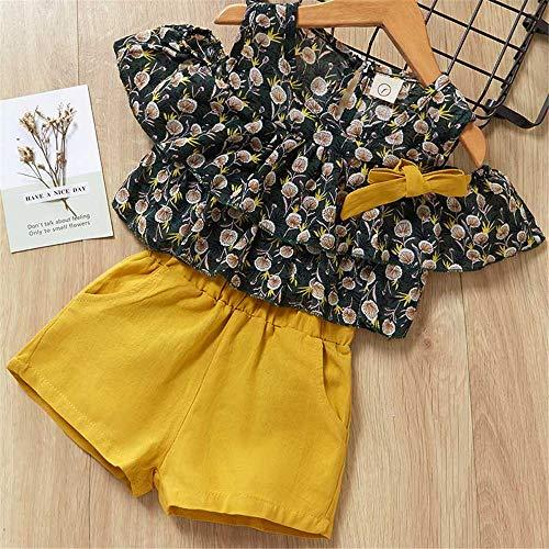 ZHIZHEN 2 Clothes Girls 2019 Summer Cute Flower Sleeves Children's Clothing Suit 6T Yellow -