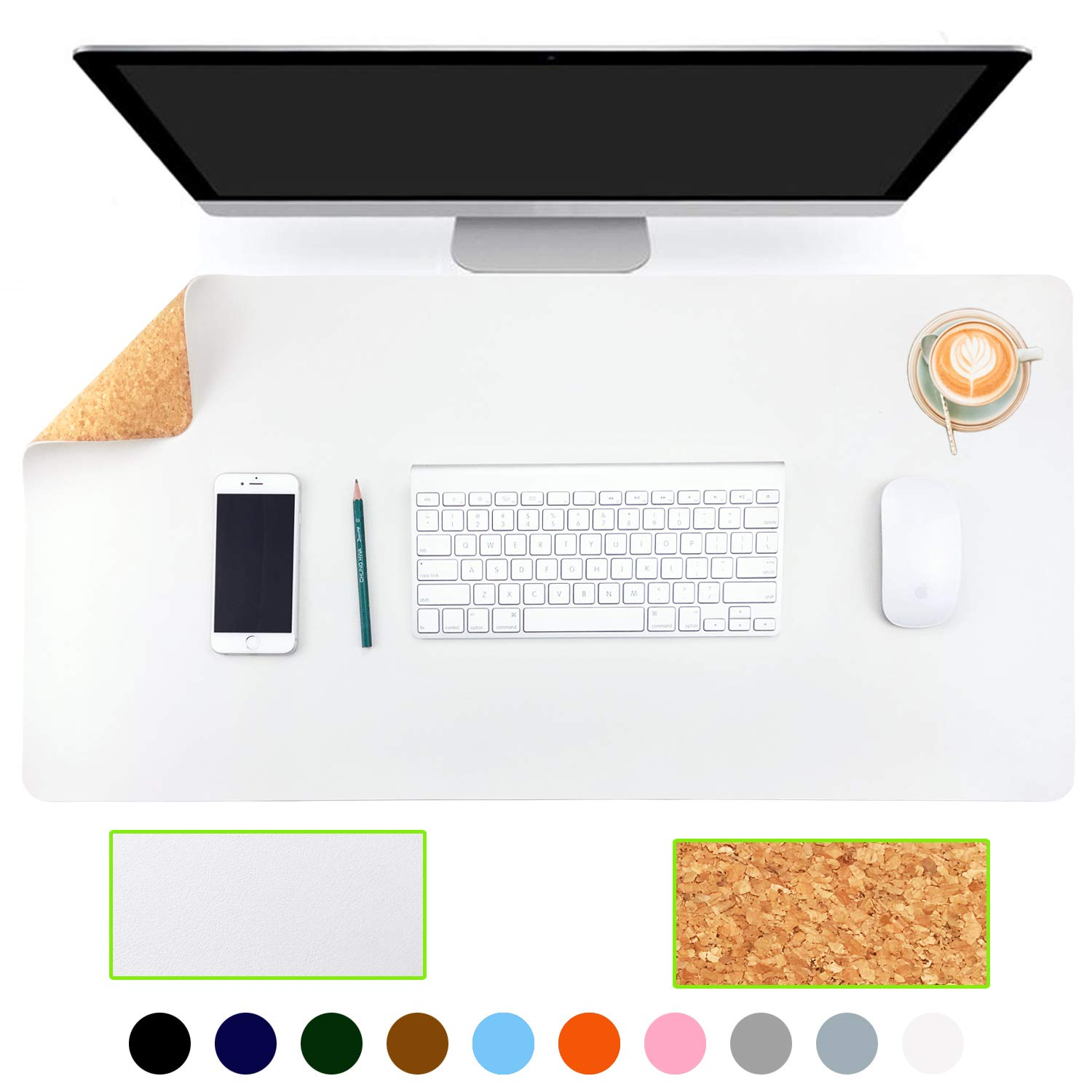 "Aothia Eco-Friendly Natural Cork & Leather Double-Sided Office Desk Mat 31.5"" x 15.7"" Mouse Pad Smooth Surface Soft Easy Clean Waterproof PU Leather Desk Protector for Office/Home Gaming (White+Cork)"
