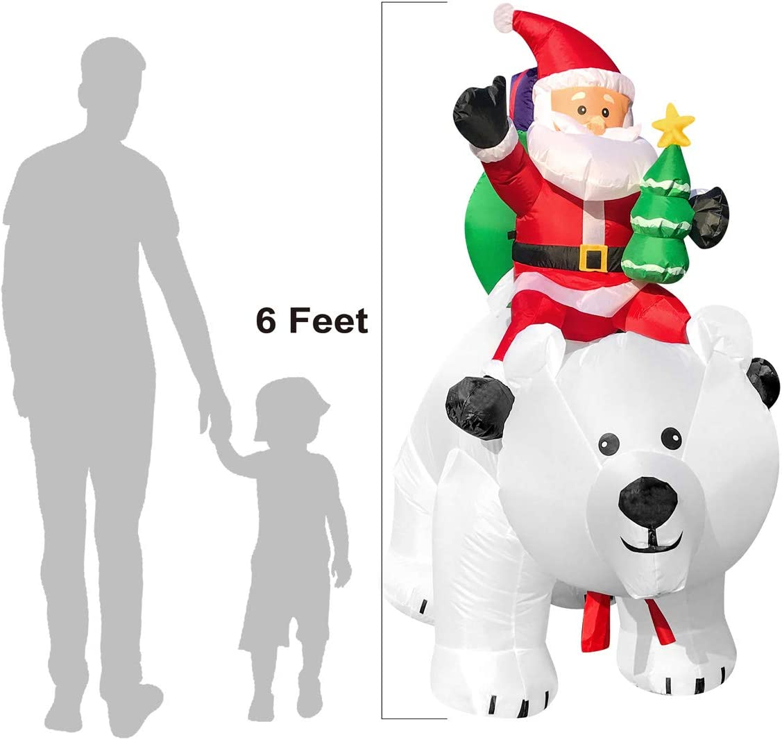 FARONZE Christmas Inflatable Giant Lighted Interior//Airblown Inflatable Christmas Decoration with Built in Fan and Anchor Ropes Polar Bear