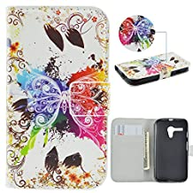 Moto G Case,IVY [Colorful Butterfly] Moto G PU Leather Phone Wallet Case with Kickstand For Motorola Moto G (1st Generation) Phone