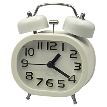 "Bashley Cosa Análoga Cuarzo Alarma Reloj, 3"" Gemelo Campana Cuarzo Alarma Relojes No Tictac"
