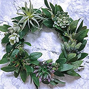 "Supla 6 Pcs Faux Seeded Eucalyptus Leaves Spray Fake Artificial Eucalyptus Stems Bulk in Green 25"" Tall for Eucalyptus Wreaths Garland Bouquet Floral Arrangements Holiday Greens Christmas Greenery 2"