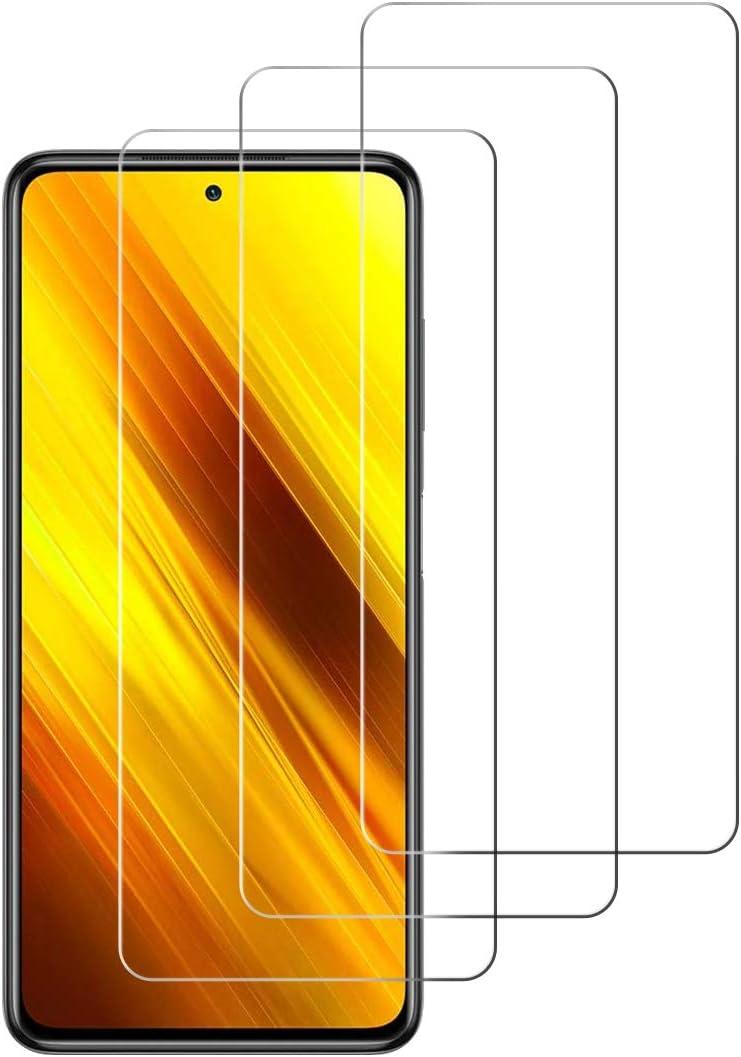 [3 Unidades] Protector de Pantalla para Xiaomi Poco X3 NFC,Cristal Templado para Xiaomi Poco X3 NFC Alta Definicion,9H Dureza,Sin Burbujas - Transparente
