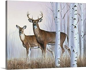 Deer in Birch Woods Canvas Wall Art Print, Deer Artwork