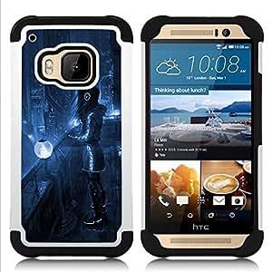 """Pulsar ( Art Blue Night City Lights Futurismo Auriculares"""" ) HTC One M9 /M9s / One Hima híbrida Heavy Duty Impact pesado deber de protección a los choques caso Carcasa de parachoques"""