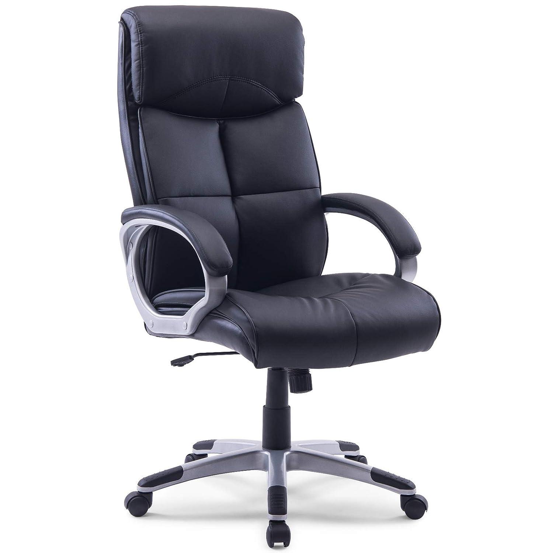 MIDORI XXL Chefsessel Bürostuhl Bürodrehstuhl Schreibtischstuhl Drehstuhl aus schwarzem Kunstleder   Bis zu 210 kg belastbar