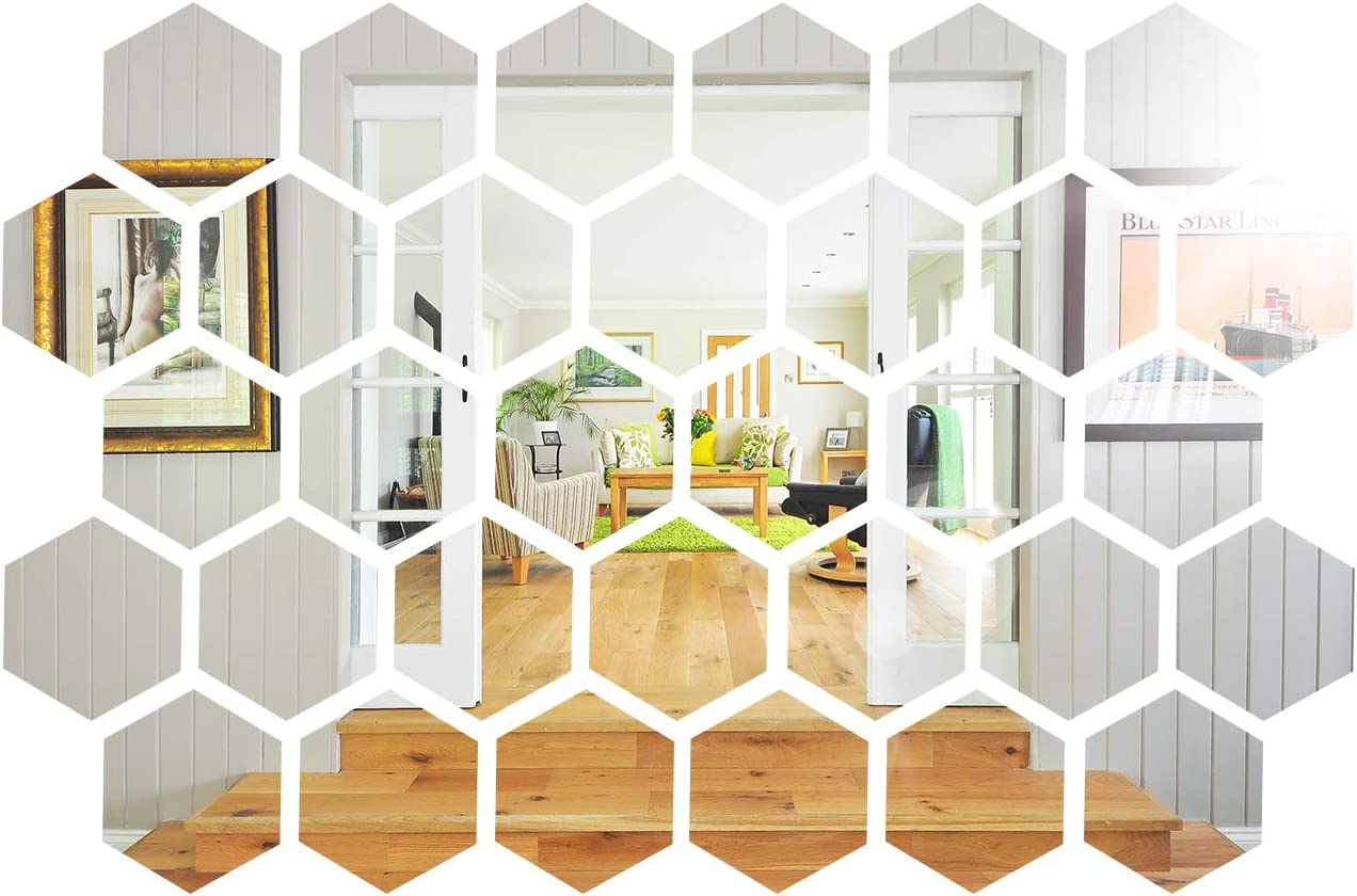 32 Pieces Removable Acrylic Mirror, Non Glass Self Adhesive Wall Sticker, Plastic Mirror for Home Living Room Bedroom Decor (Hexagon, 5 x 4.3 x 2.5 Inches)