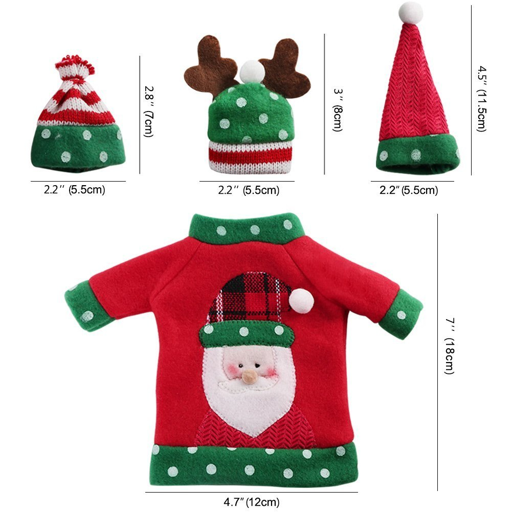 Christmas Wine Cover Sweater Ugly Wine Cover Santa, Reindeer And Snowman Red Wine Bottle Cover for Christmas and new year Party Decoration(3Pcs)