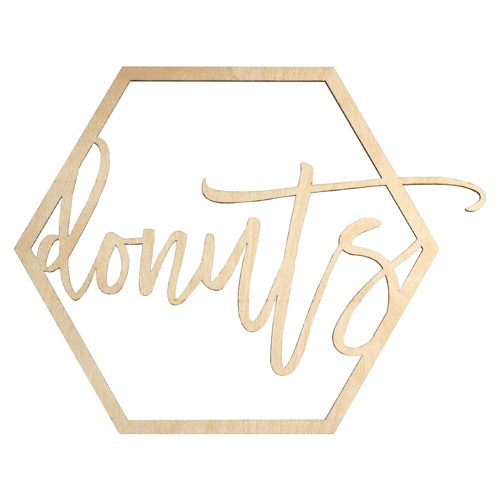 Koyal Wholesale Wood Donut Bar Sign, Wedding Display, Party Banner, Event Decorations for Wedding Engagement Bridal Shower Baby Shower Birthday Party (Donuts) by Koyal Wholesale (Image #1)
