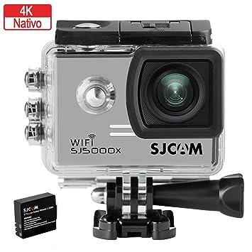 SJCAM SJ5000X Elite (versión española) - Videocámara deportiva (WiFi integrado, 4K, pantalla de 2 LCD, WiFi, sumergible 30 m) color plateado
