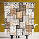 SCOCICI Cool Shower Curtain 3.0 by [Arabian,Colorful Patchwork Art Oriental Patterns Ornaments Cultural Illustration Print,Brown Cream ] Waterproof and Mildewproof Polyester Fabric Bath Curtain Desig