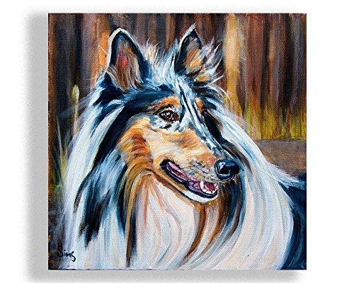Heather Woodland (Blue Merle Rough Collie Dog Art Giclee Print Animal Artwork Farmhouse Decor, Gifts Idea, mat option)