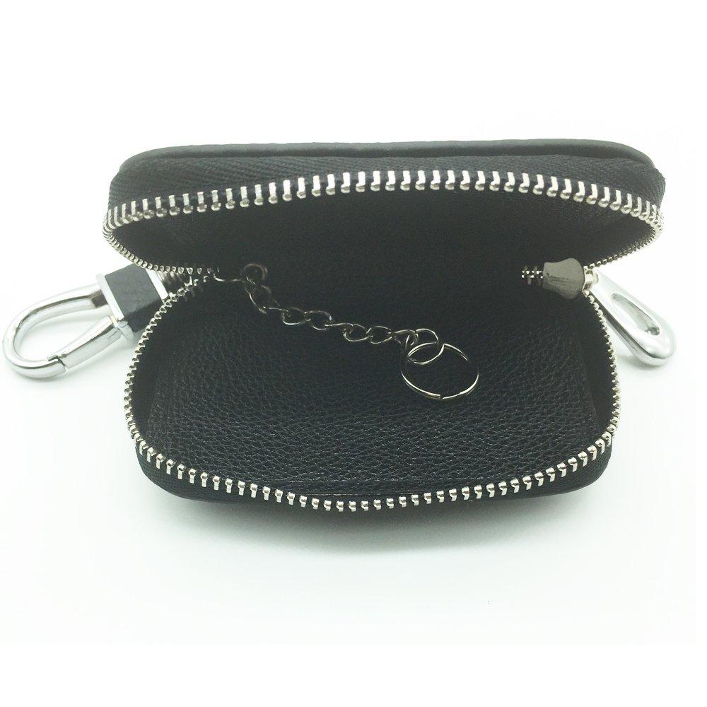 Car Key Chain Holder SHANG MEDING Black Premium Leather Zipper Case Remote Wallet Bag Cover Toyota