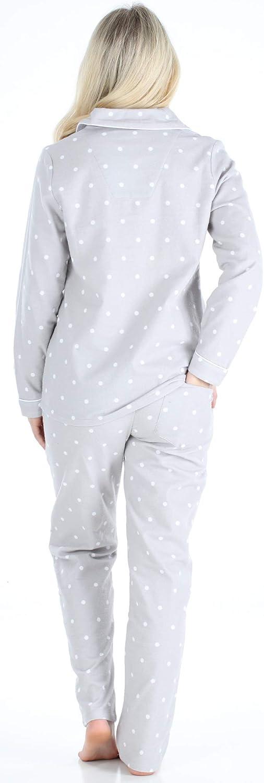 PajamaMania Lang/ärmeliger Flanell Schlafanzug f/ür Damen 2-teiliges Pyjama Set