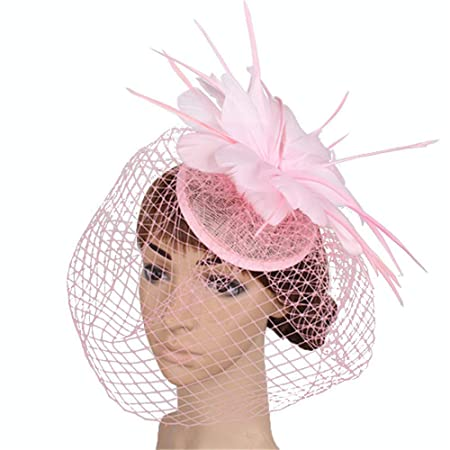 8d4ea43572d Sinamay Fascinator Hat Tea Party Hats Pillbox Hat Derby Hat for Women  (Color   Pink)  Amazon.co.uk  Kitchen   Home