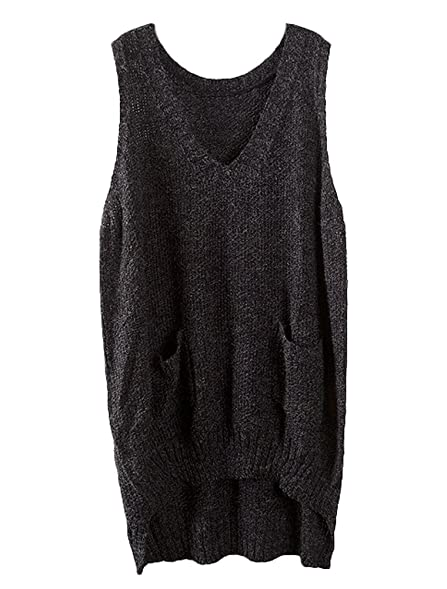 Minibee Women's Deep V-neck Sleeveless Knitted Hi Low Sweater Vest ...