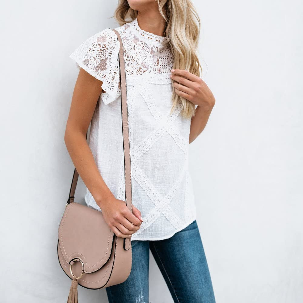 Camisetas Mujer SHOBDW Dia de la Mujer Verano Patchwork De Encaje ...