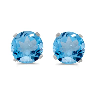 blue stud topaz earrings front