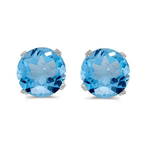 Amazon Com 14k White Gold Round Blue Topaz Stud Earrings Jewelry
