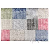 Eyes of India 4 X 6 ft White Colorful Cotton Block Print Accent Area Overdyed Dhurrie Rug Woven Flat Weave