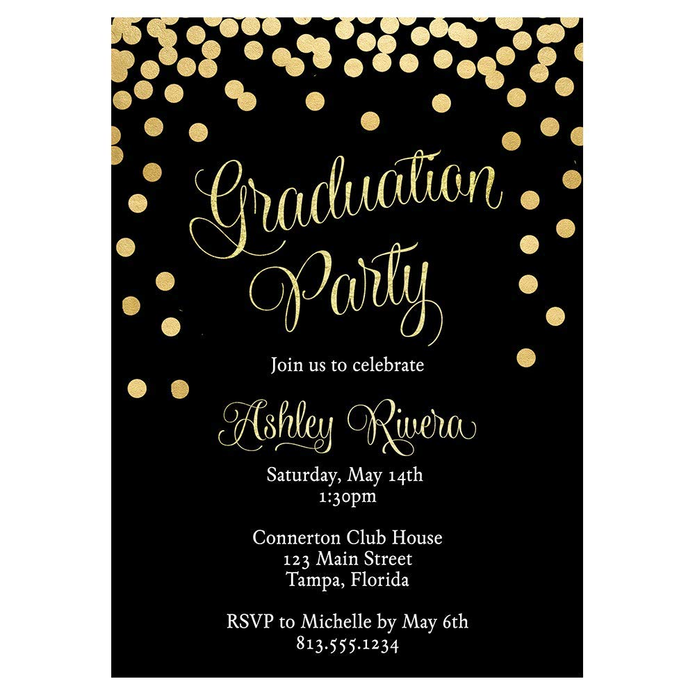 Amazon.com: Graduation Invitations Open House Celebration Grad Invites  Black and Gold Sparkle Glitter Confetti Commencement High School College  Trade School Fully Customizable Printed Cards (10 Count): Baby