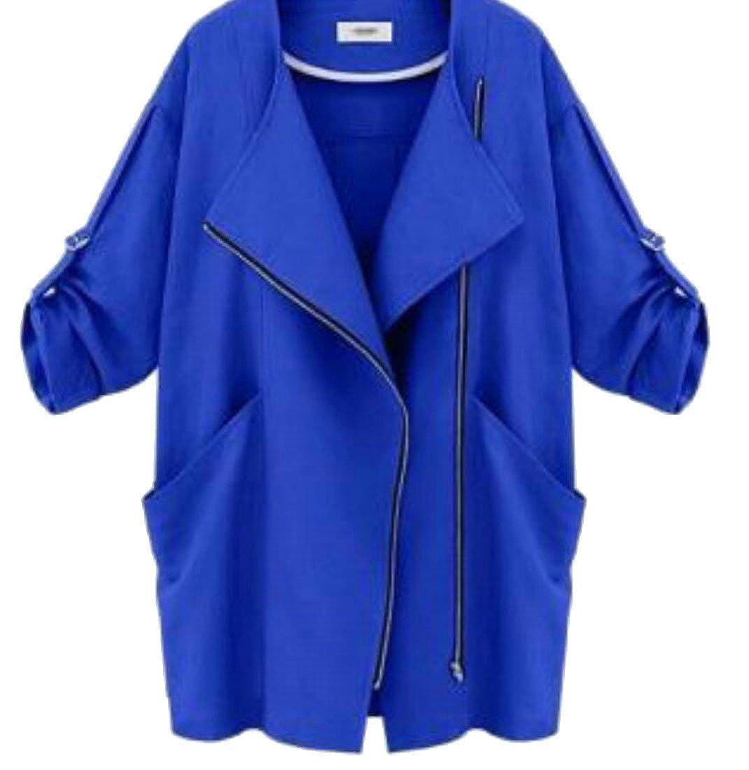 7afa47c7dad ouxiuli Womens Fashion Zipper Up Lapel Roll Up Outwear Cardigan Jackets at Amazon  Women s Coats Shop