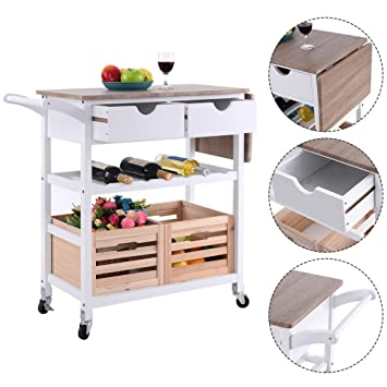Amazon.com : Costway Rolling Kitchen Trolley Island Cart Drop-leaf w/ Storage Drawer Basket Wine Rack : Office Products
