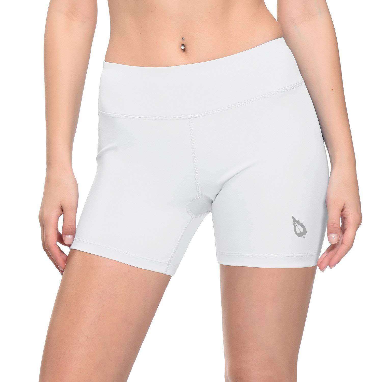 Baleaf Women's 4'' Compression Volleyball Shorts Training Workout Back Pocket White Size L by Baleaf