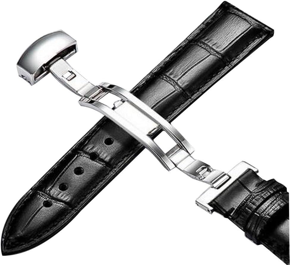 Black Temptation Correa De Cuero De Reloj Muñeca De Repuesto Mariposa Hebilla De Plata 20mm Negro