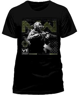 Call of Duty Modern Warfare – Camiseta negra de hombre de manga corta con impresión frontal – Producto oficial de camiseta: Amazon.es: Ropa y accesorios