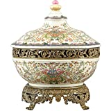 Home decor. Gold and Ivory Tureen. Dimension: 13 X 13 X 16. Pattern: Chekian Lotus.