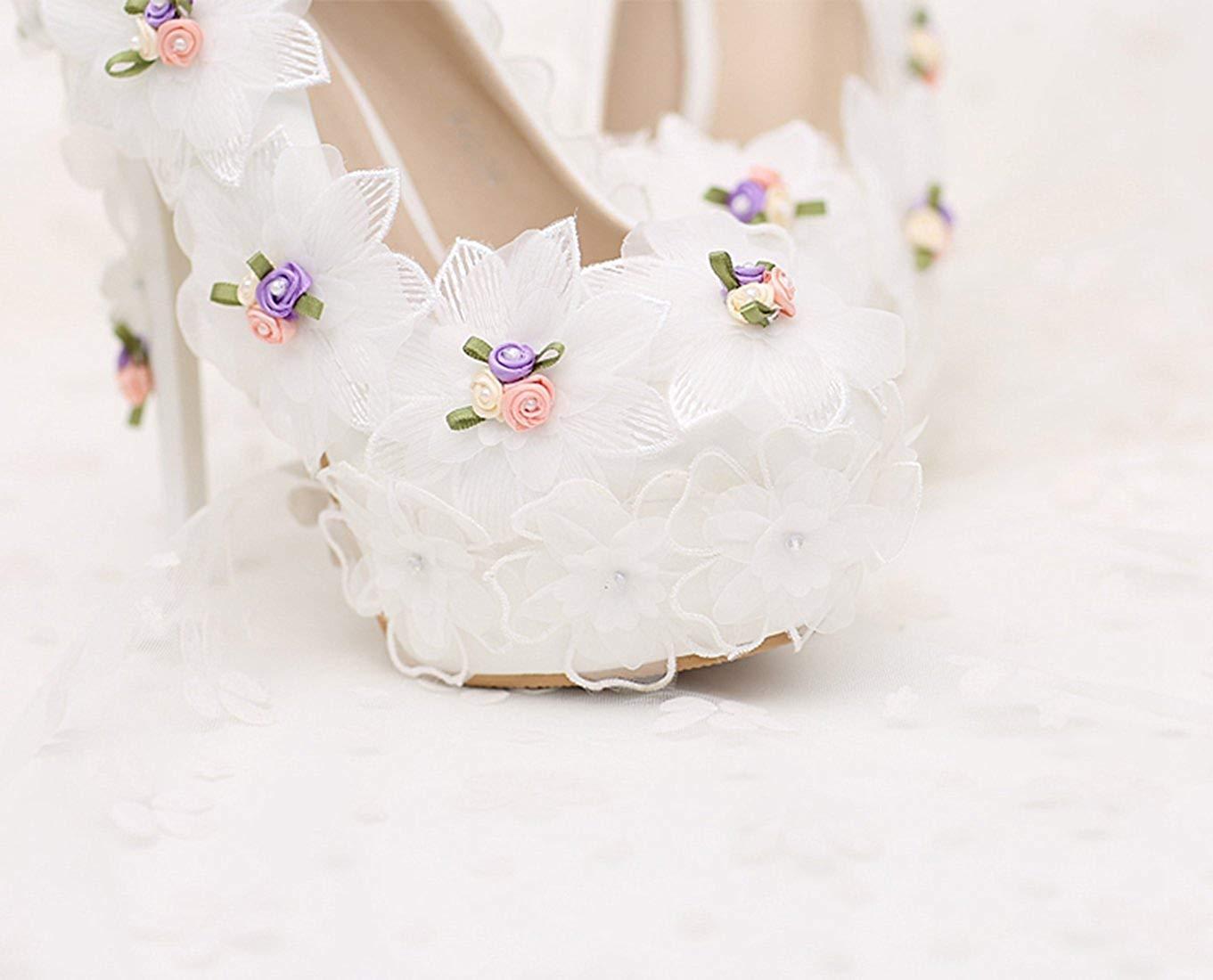 HhGold Damen Damen Damen Versteckte Hohe Plattform Stiletto Heels Weiße Braut Hochzeit Pumps mit Blaumen UK 5 (Farbe   -, Größe   -) a2eef2