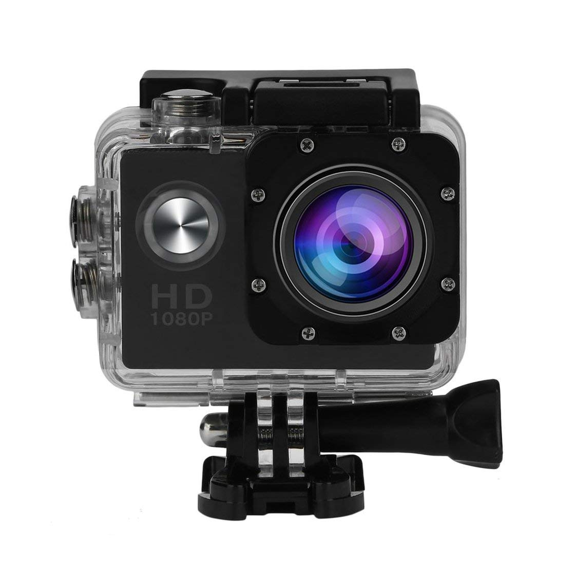 Laurelmartina Cámara de acción SJ5000 Sports CAM Full HD 1080P 30m Impermeable Pantalla LCD de 2.0 Pulgadas Mini Deportes DV Videocámara con Accesorios de cámara