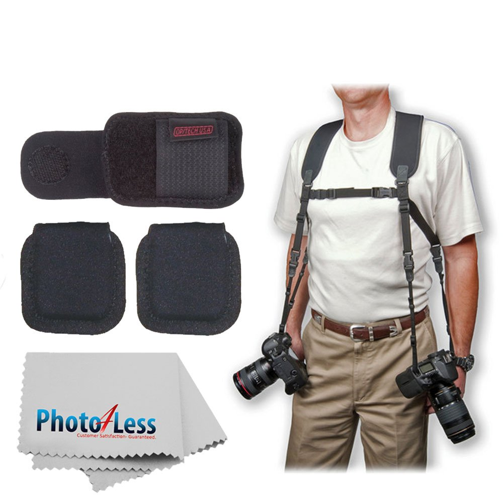 OP/TECH USA Dual Harness + Op/Tech Media Holsters + Op/Tech Battery Holster + Photo4Less Camera & Lens Cleaning Cloth - Ultimate Value Accessory Bundle