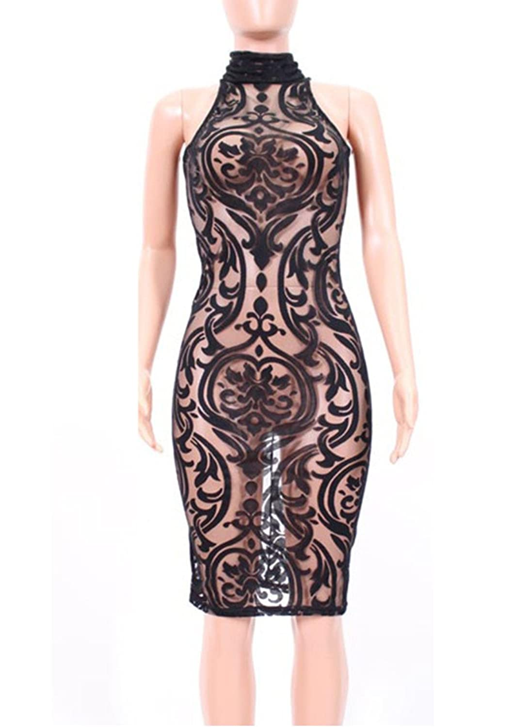 Women Sexy Sleeveless Floral Mesh Nude See Through Clubwear Bodycon Party Dress