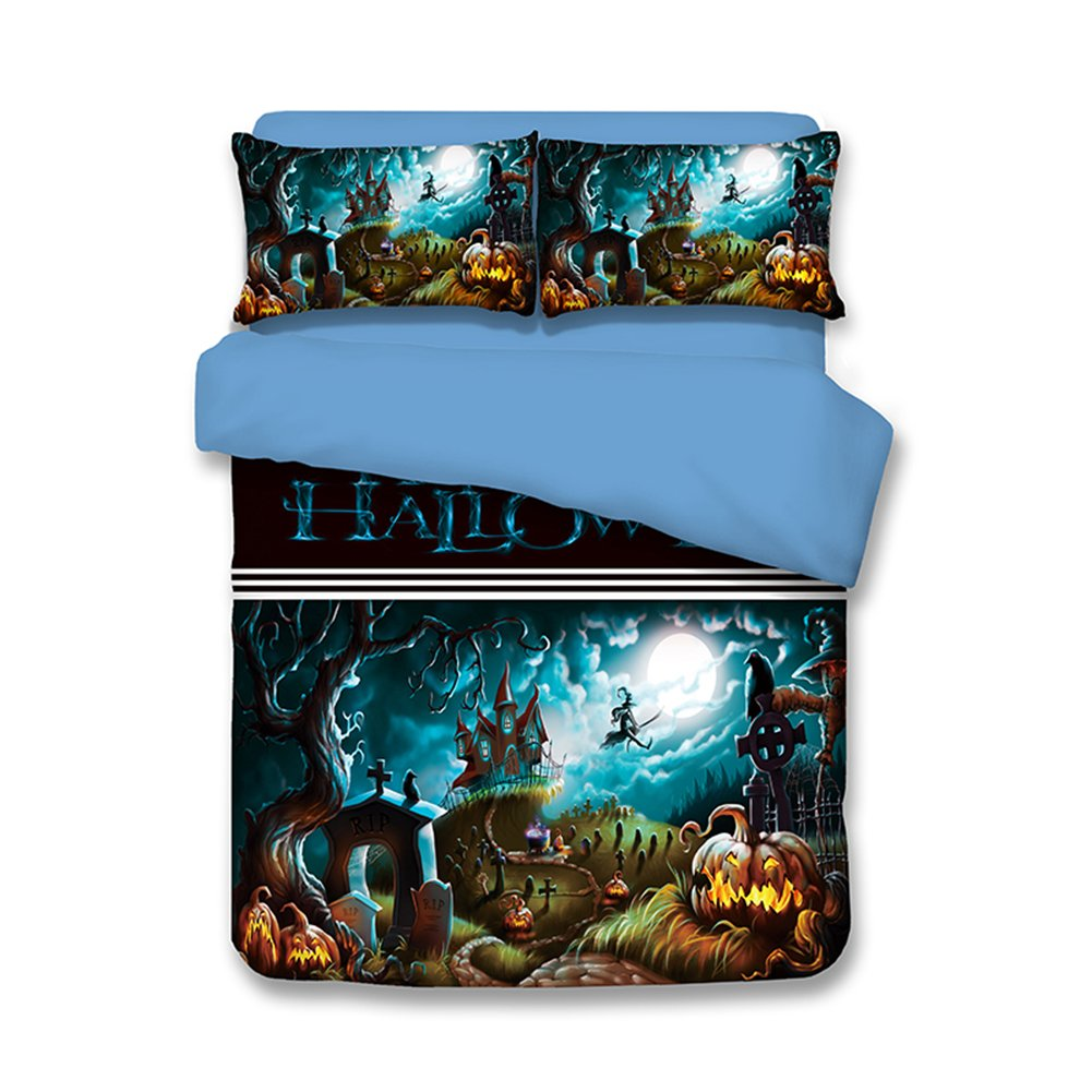 Holloween Bedding Sets Pumpkin Lanterns - MeMoreCool 100% Polyester Festival Decorations 3D Designs US Standard Size Twin