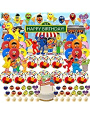 Elmo Cookie Monster Street Party Supplies BIG BIRD Decorations for Girls Boys Banner Backdrop Balloons Birthday