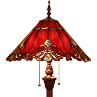 Bieye L40242 Baroque Tiffany Style Stained Glass Floor Lamp with 44 cm Wide Red Lampshade, 165 cm Tall