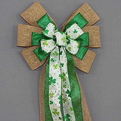 Burlap Sparkle Shamrock St. Patrick's Day Wreath Bow - available in 2 sizes