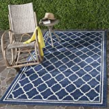 Safavieh Amherst Collection AMT422P Navy and Beige Indoor/Outdoor Area Rug (8′ x 10′) For Sale