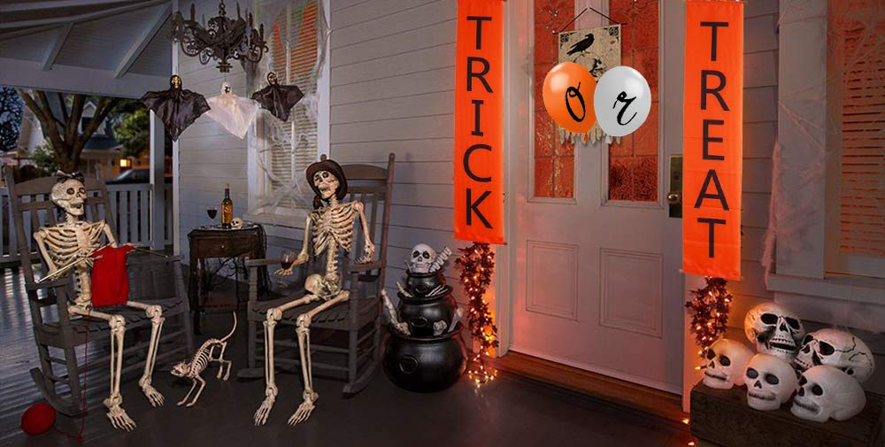Join2Top Trick or Treat Banner and Balloons, Halloween Decorations for Door/Fireplace, Ready to Welcome Kids by Join2Top (Image #3)