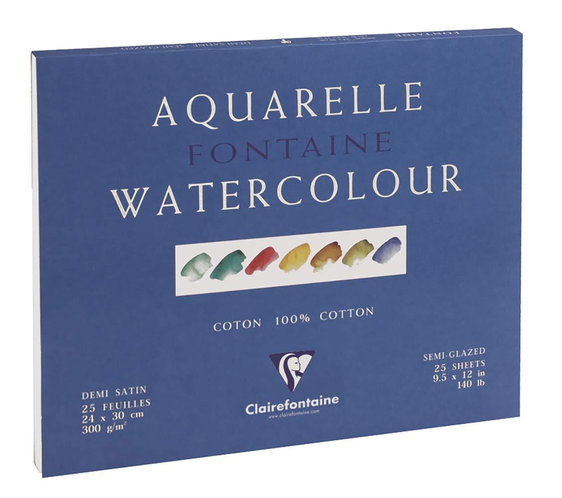 Clairefontaine 96409C Malblock Fontaine//Hadern 42 x 56 cm 300 g Packung 4-seitig verleimt Aquarellpapier Halbsatiniert 25 Blatt wei/ß