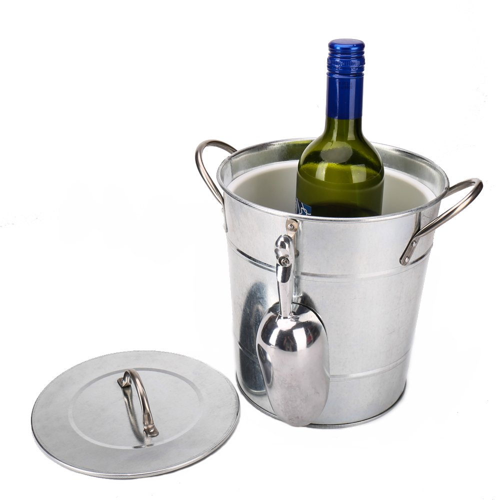 Hot Sale T586 4L Silver Metal Galvanized Double Walled Ice Bucket Set With Lid And Scoop by Home by Jackie Inc (Image #6)