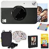 Kodak Printomatic Instant Camera (Black) Gift Bundle + Zink Paper (20 Sheets) + Deluxe Case + 7 Fun Sticker Sets + Twin Tip M