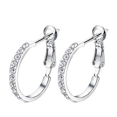 61be86bd3 Women's Stainless Steel Pierced Hoop Earrings Cubic Zirconia For Teen Girls