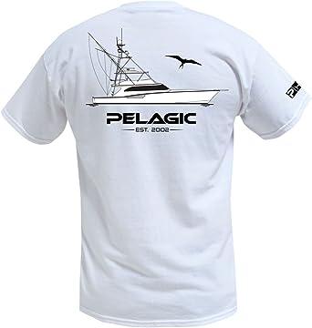 Pelagic camisa de bolsillo Diesel doble camiseta para hombre | pesca deportiva barco gráfico | izquierda bolsillo en el pecho