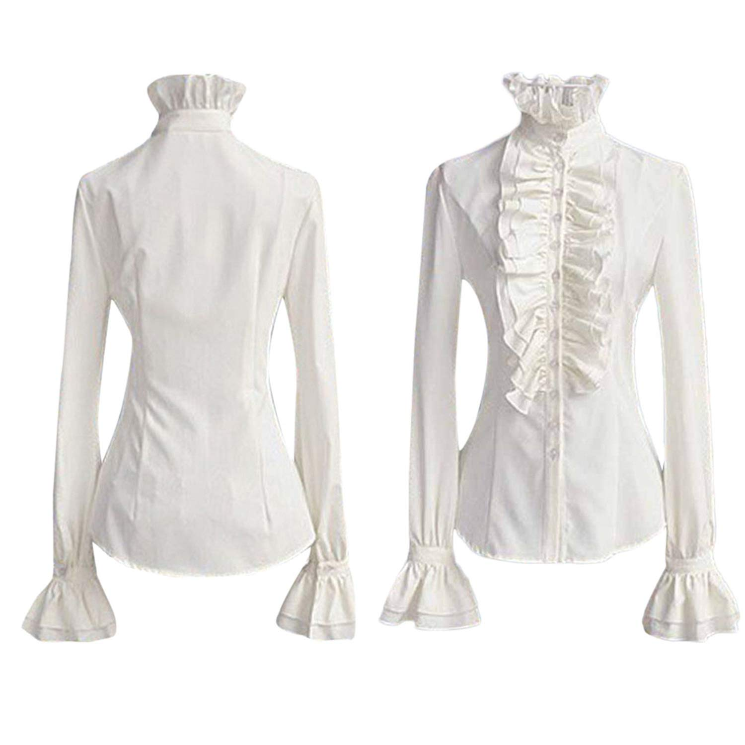 ed6546c7401 Office White Stand Neck Ruffle Blouse Women Lace-up Solid Collar Tie ...